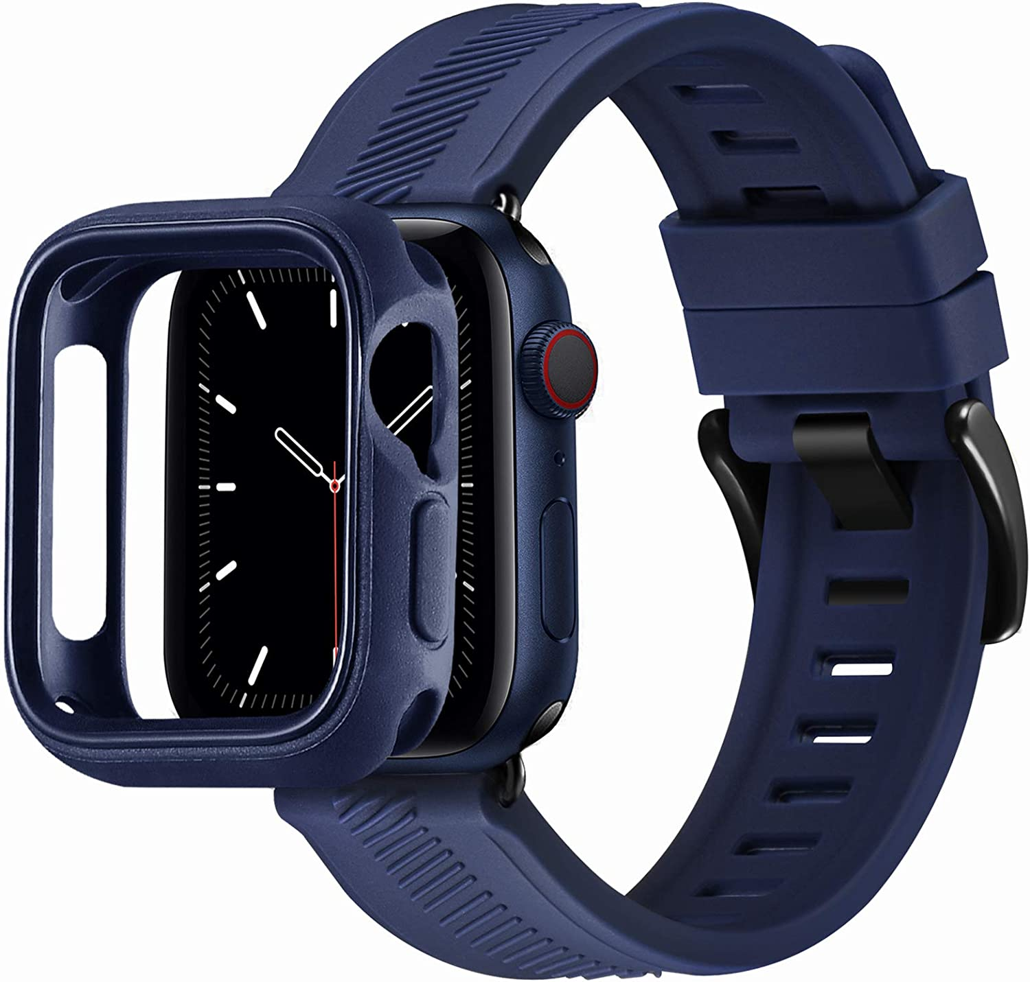 BesBand Compatible with Apple Watch Bands 44mm 42mm 40mm 38mm, Soft Silicone Waterproof Sport Band Loop with Protective Case for iWatch Series 6/5/4/3/2/1&SE (Navy Blue/Black, 42mm/44mm)