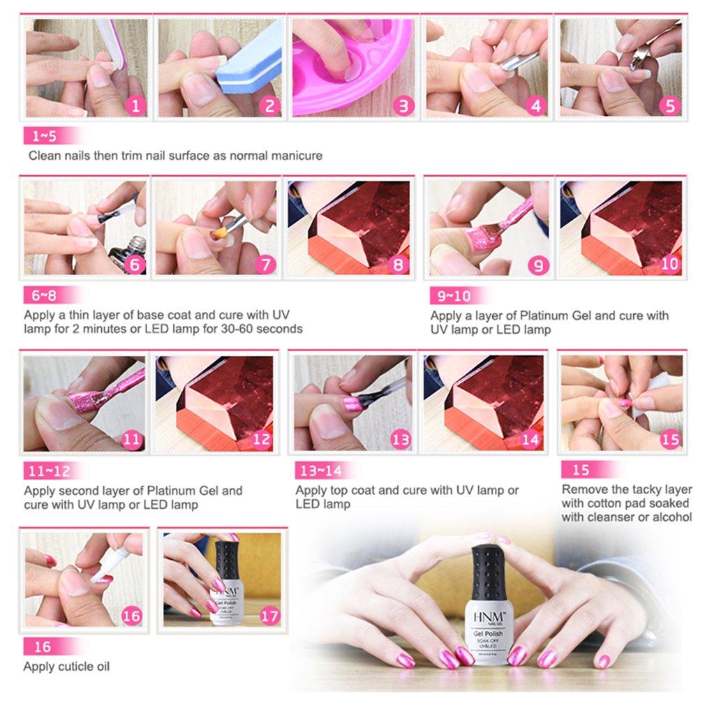Esmalte de uñas de HNM para uñas de gel de UV o LED, color platino, 8 ml (modelo 58001): Amazon.es: Belleza