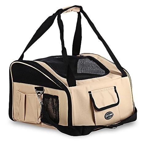 PrettyGal Bolsa Portador Transportín Plegable Caseta Portátil de Viaje para Perros Gatos (Blancuzco)