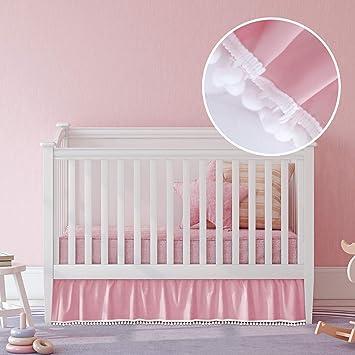 Amazon.com: Falda plisada con borla de color rosa para cuna ...