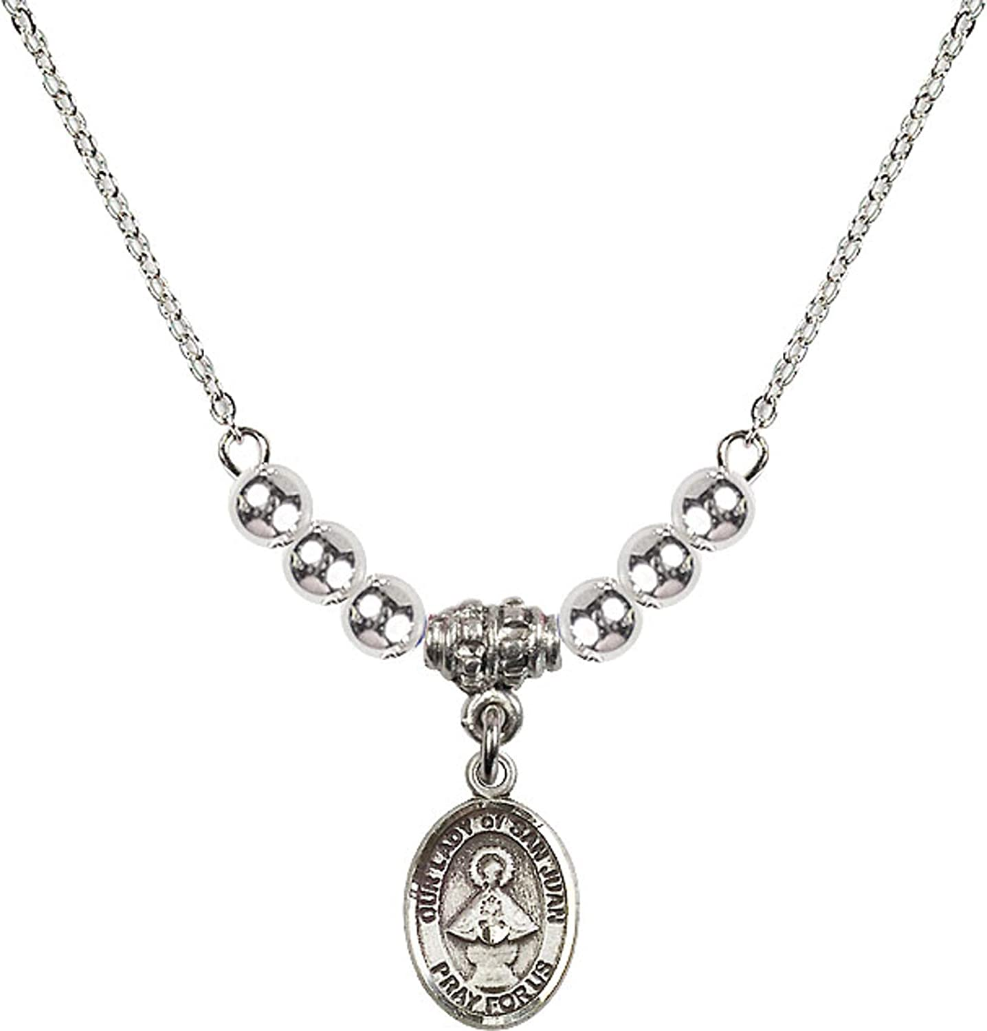 Bonyak Jewelry 18 Inch Rhodium Plated Necklace w// 4mm Sterling Silver Beads and Our Lady of San Juan Charm
