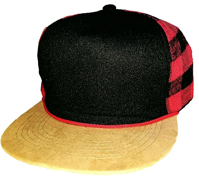 b0fbbeccaf9bd Red   Black Buffalo Check Plaid Snapback Hat Cap Flat Brim at Amazon ...