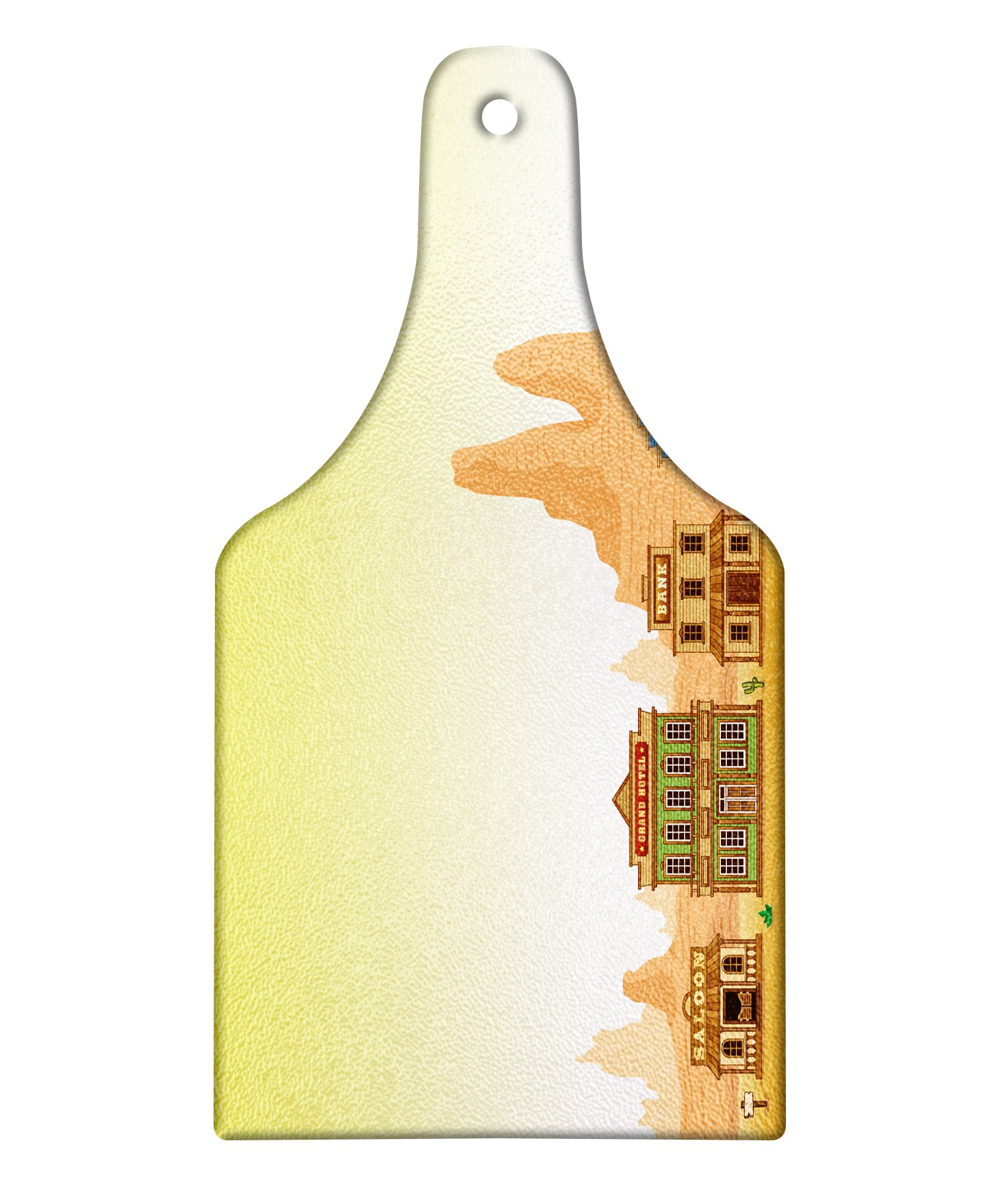 Lunarable Western Cutting Board, Wild West Town Architecture of Hotel Sheriff Bank Cafeteria Print, Decorative Tempered Glass Cutting and Serving Board, Wine Bottle Shape, Pale Yellow Peach Sand Brown