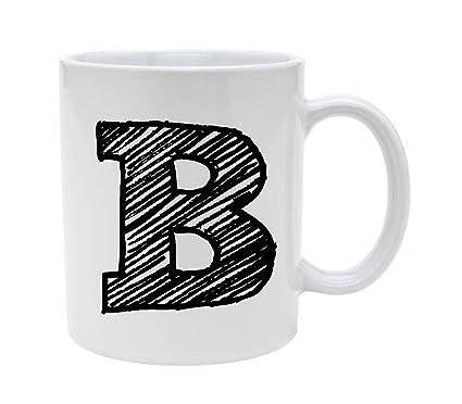ceramic alphabet letter handwritten letter b 11oz coffee mug cup