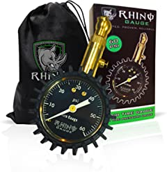 """Rhino USA Heavy Duty Tire Pressure Gauge (0-60 PSI) - Certified ANSI B40.1 Accurate, Large 2"""" Easy Read Glow Dial, Premium Braided Hose, Solid Brass Hardware, Best For Any Car, Truck, Motorcycle, RV"""