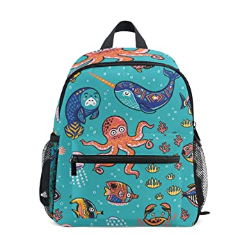 f995c78fa660 MyDaily Kids Backpack Octopus Seal Narwhal Fish Cartoon Nursery Bags for  Preschool Children