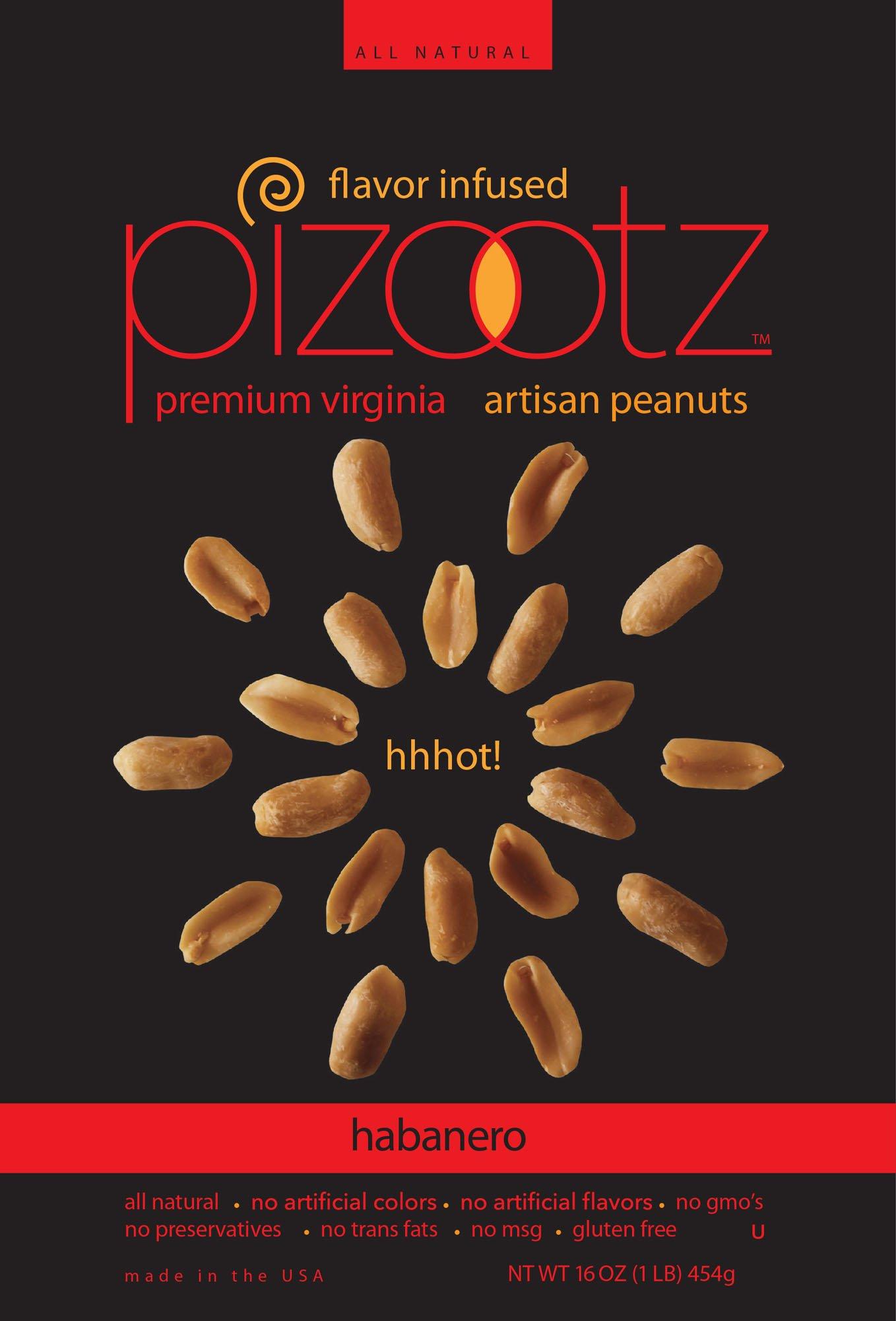 PIZOOTZ Habanero Flavor Infused Peanuts, Premium Virginia Gourmet, 16 Ounce