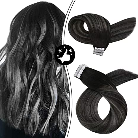 Image ofMoresoo 14 Pulgadas Extensiones de Cabello Black Highlights with Silver with Black Roots Natural Adhesivas Ombre Balayage Humanas Hair Extensions 50g/20pc