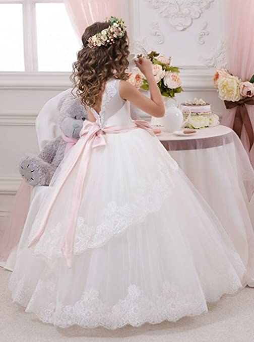 Amazon.com: MicBridal® Princess Applique Sash Bow V-neck Banquet Flower Girl Dress White: Clothing