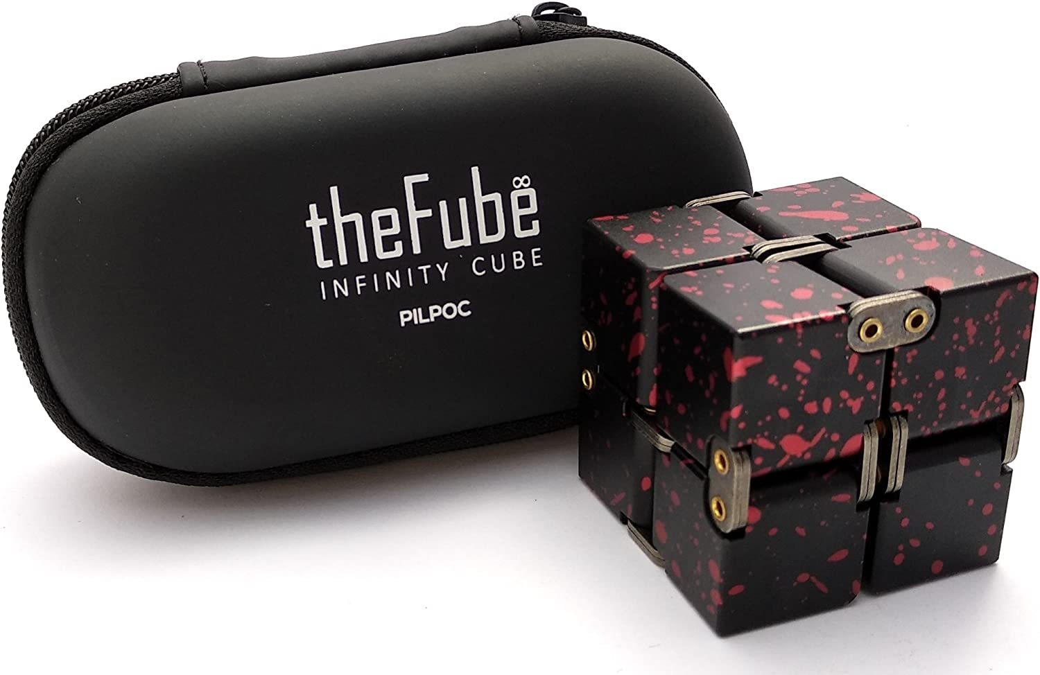 This is an image of a fidget cube in black with pink specks color. Behind it is a storage case in oval shape.