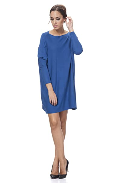Tantra Wide Knitted Dress - Vestido de Manga Larga para Mujer, Color Azul Claro, Talla M