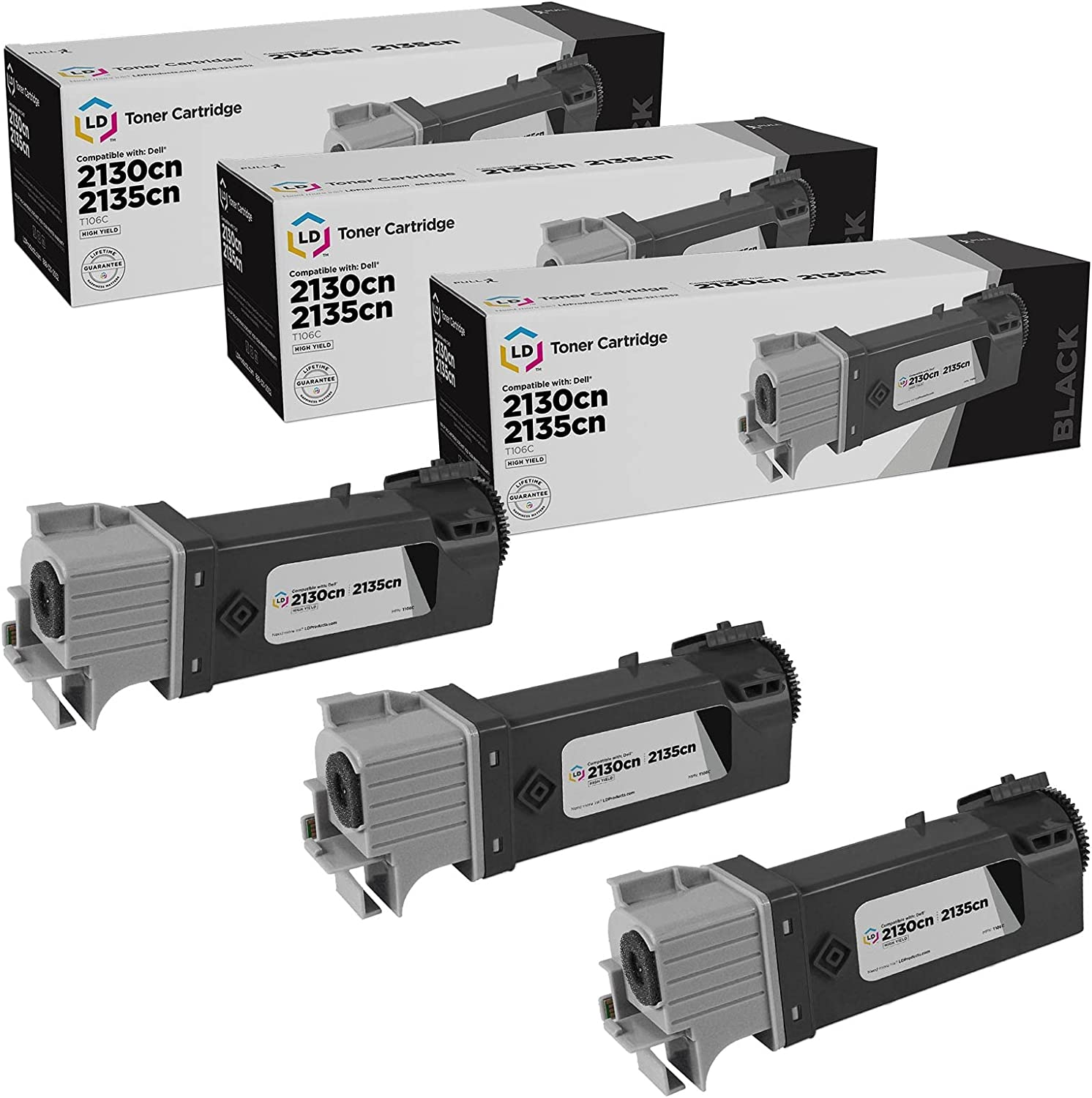 LD Compatible Toner Cartridge Replacement for Dell 330-1436 T106C High Yield (Black, 3-Pack)