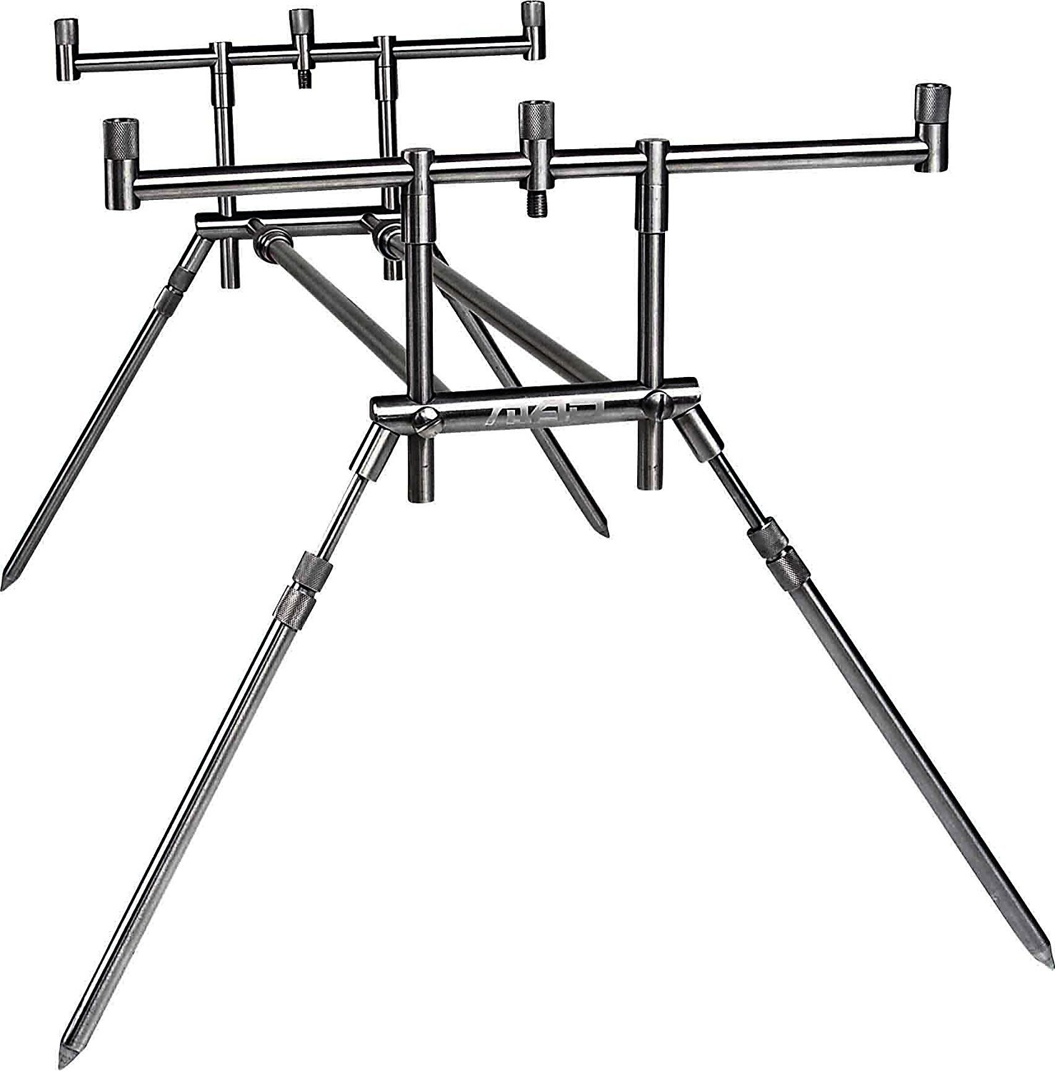 DAM MAD Compact Stainless Steel Rod Pod Rack For 3 Fishing Rods, incl 3 Rodrests (2913103) and 3 Buttcaps (11 07028), 2900022 by MAD-Rod-Pods