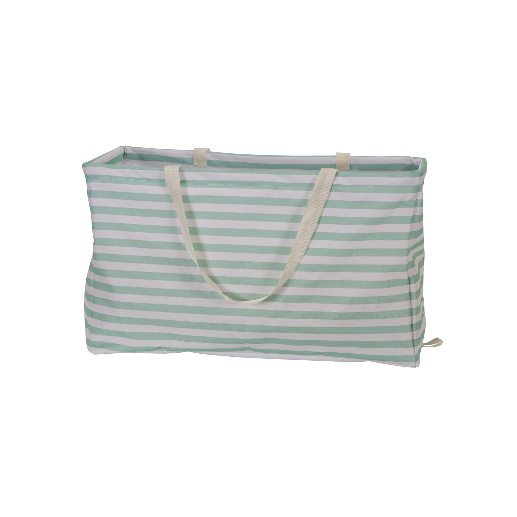 "Household Essentials 2242 Krush Canvas Utility Tote | Reusable Grocery Shopping Laundry Carry Bag | Teal And White Stripes, 22"" L X 11"" W X 13"" H,"