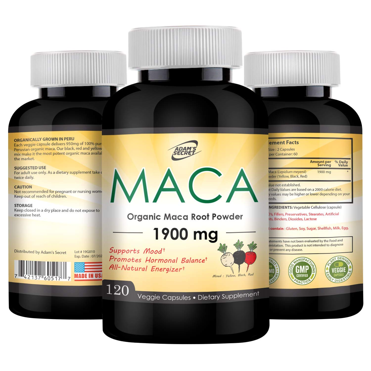 Organic Maca Root Black, Red, Yellow 1900mg per Serving | Superfood Maca Root is an Excellent Supplement for Men and Women, Natural Energizer, Improves Vigor & Focus | 100% Pure Non-GMO | 120 Capsules