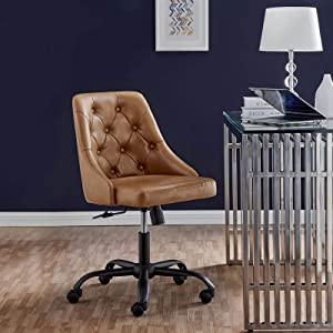 Modway Distinct Tufted Swivel Vegan Leather Office Chair, Black Tan