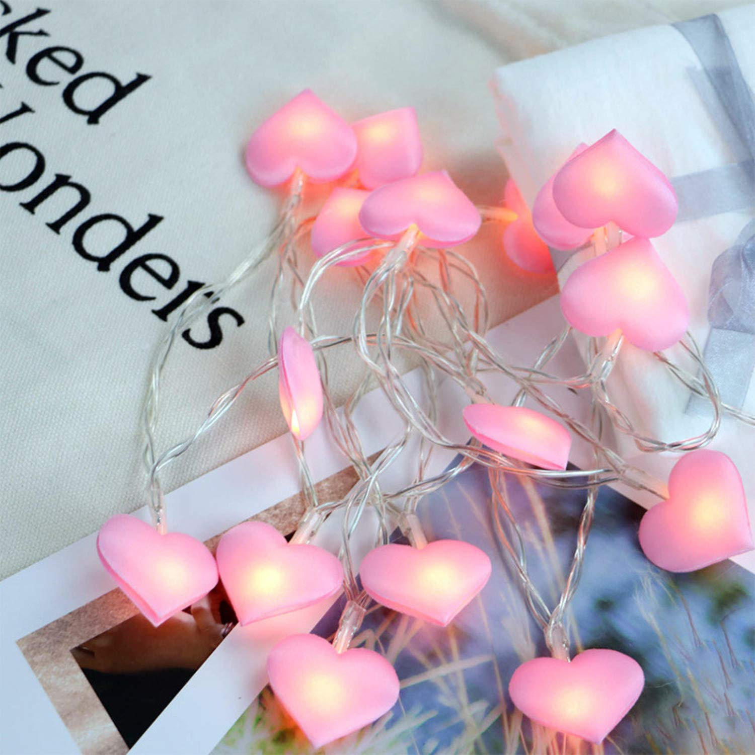 SSTQSAA 1.5M/3M 10/20pcs LED Copper Wire Heart-Shaped String Lights Battery Fairy Garland Lamp for Home Bedroom Decor (Pink, 3)