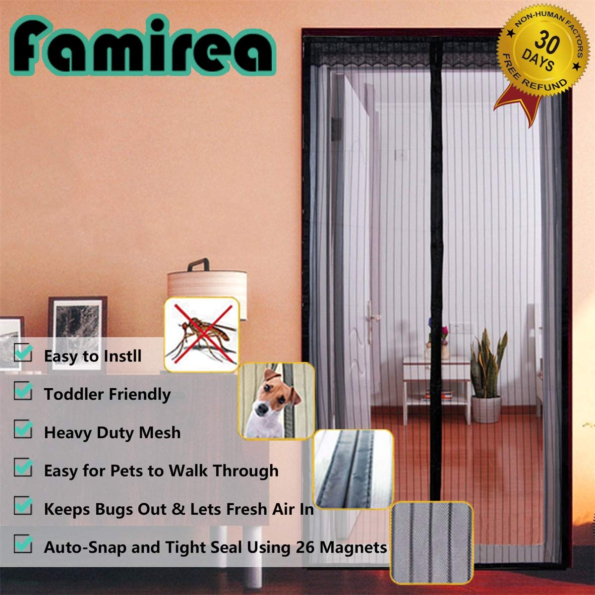 Magnetic Screen Door,Removable Screen Door with Full Frame Velcro and Heavy Duty Mesh Curtain (36''x82'')