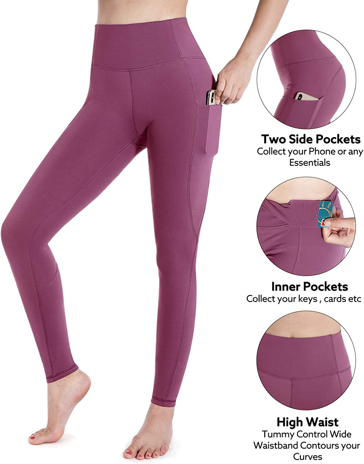 STYLEWORD Womens Yoga Pants with Pockets High Waist Workout Leggings Power Flex Running Pants