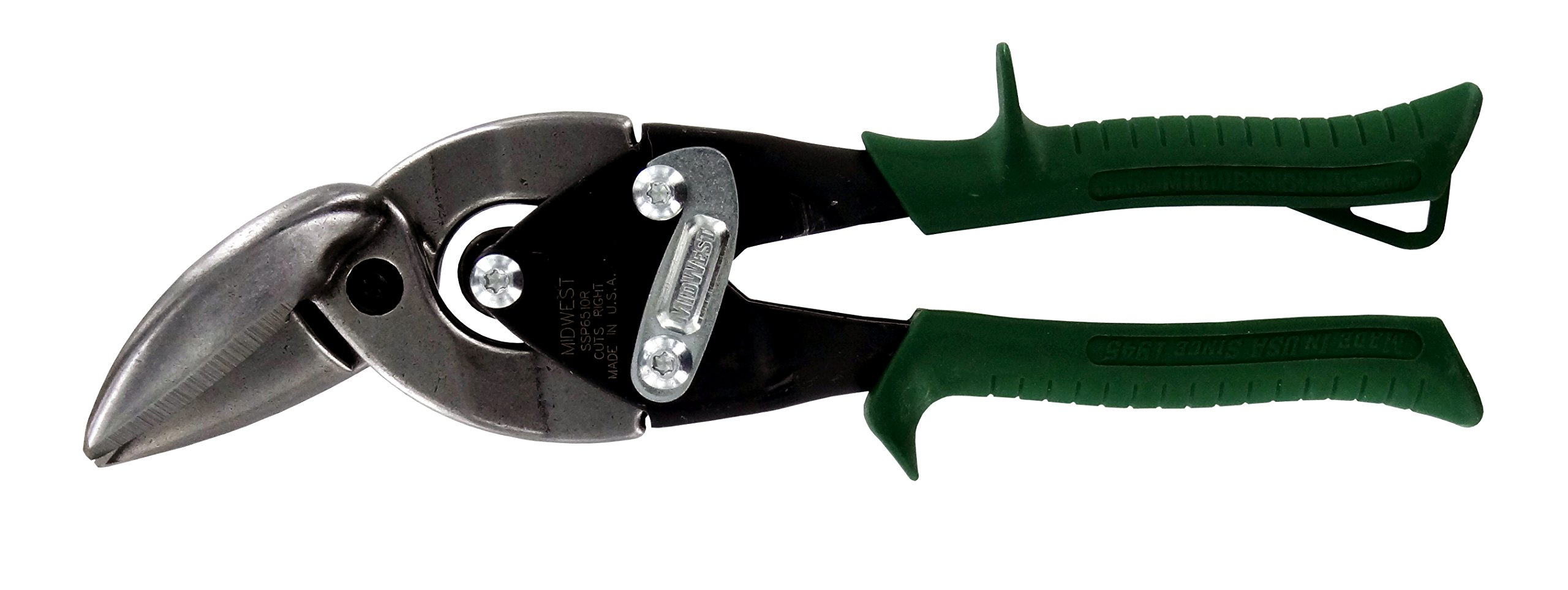 MIDWEST Aviation Snip - Right Cut Offset Stainless Steel Cutting Shears with Forged Blade & KUSH'N-POWER Comfort Grips - MWT-SS6510R