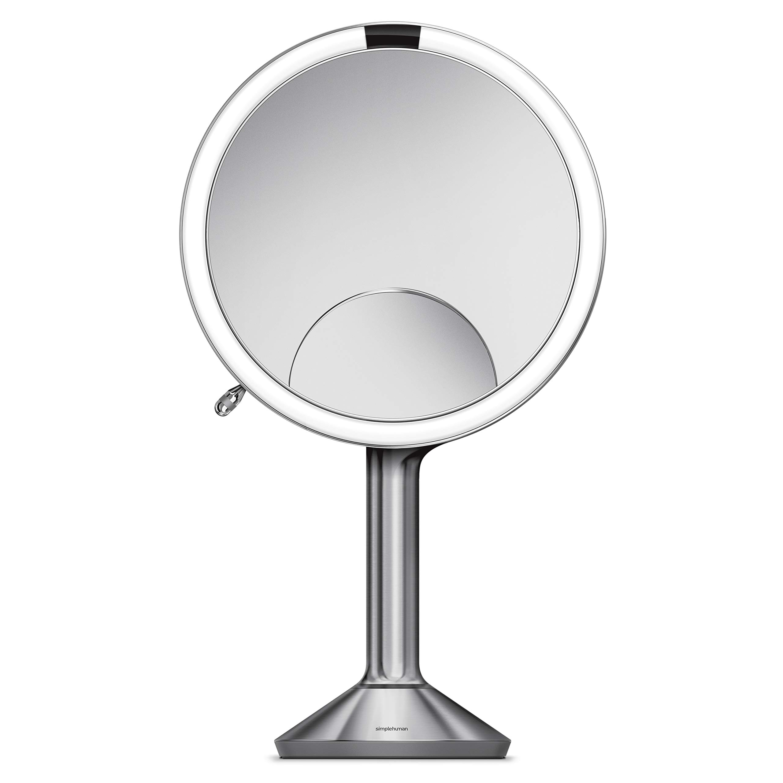 simplehuman Sensor Mirror Trio, 8'' Round with Touch-Control Brightness, 5X, 1x, 10x Magnification, Brushed Stainless Steel