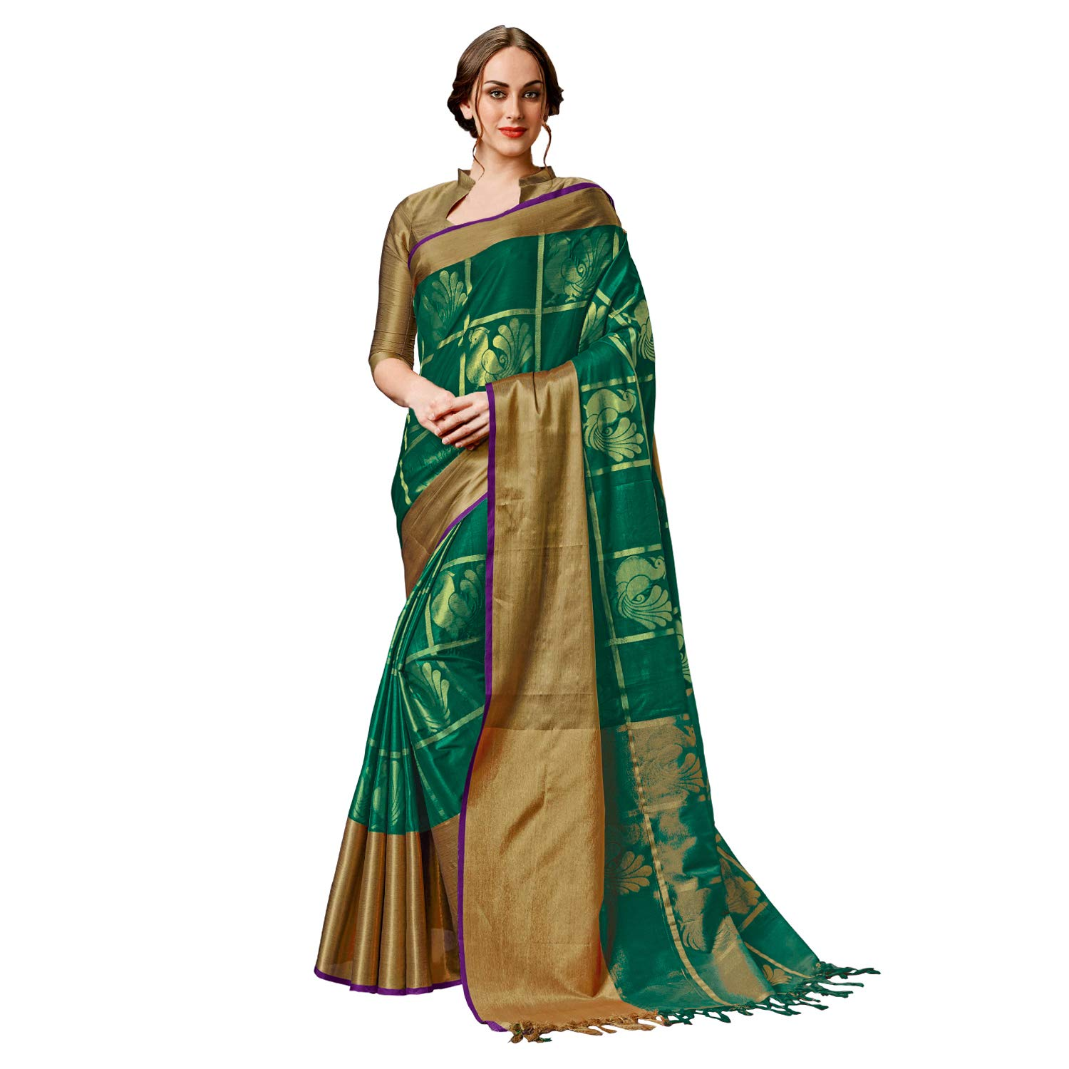 2b81745179bce SP AURA Women s Ethnic Feathersoft Cotton Saree with Blouse Piece (Swarna) ( Mustard Golden)  Amazon.in  Clothing   Accessories