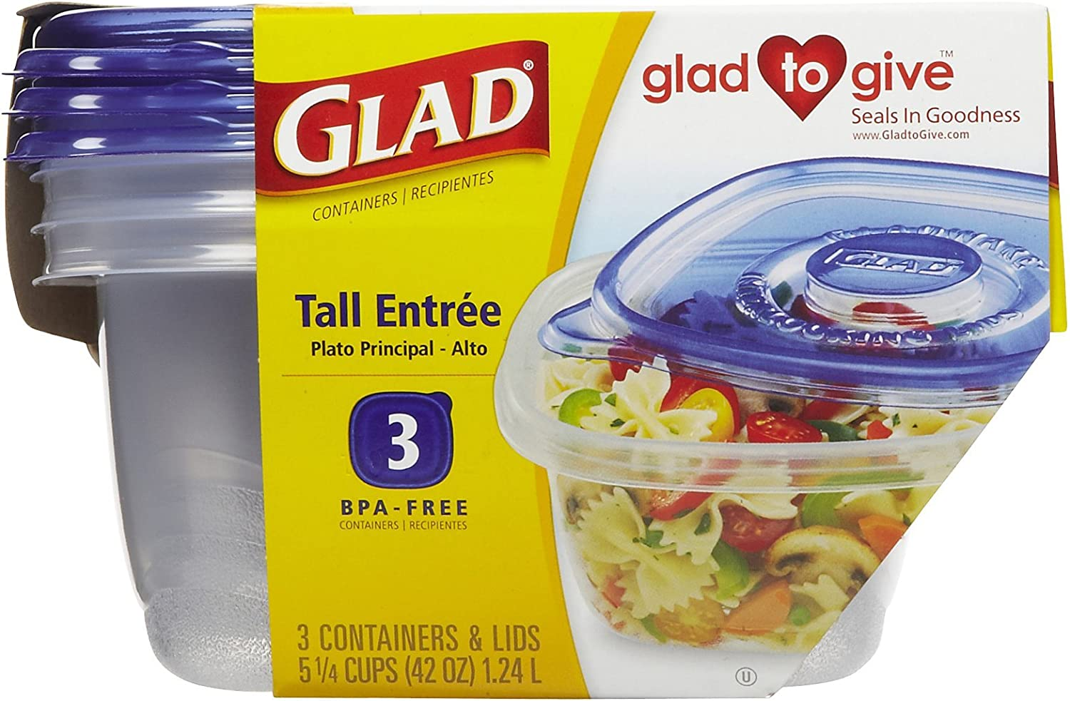 GLAD Tall Entree 3 Disposable Container & Lids 5 1/4 Cups