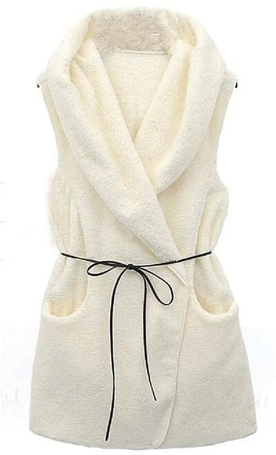 Allonly Women's Faux Wool Warm Vest Jacket Coat ALLNQIU0185A