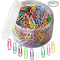 kuou 500pcs Coloured Paper Clips, Plastic-Coated Paperclips Office Clips with Box