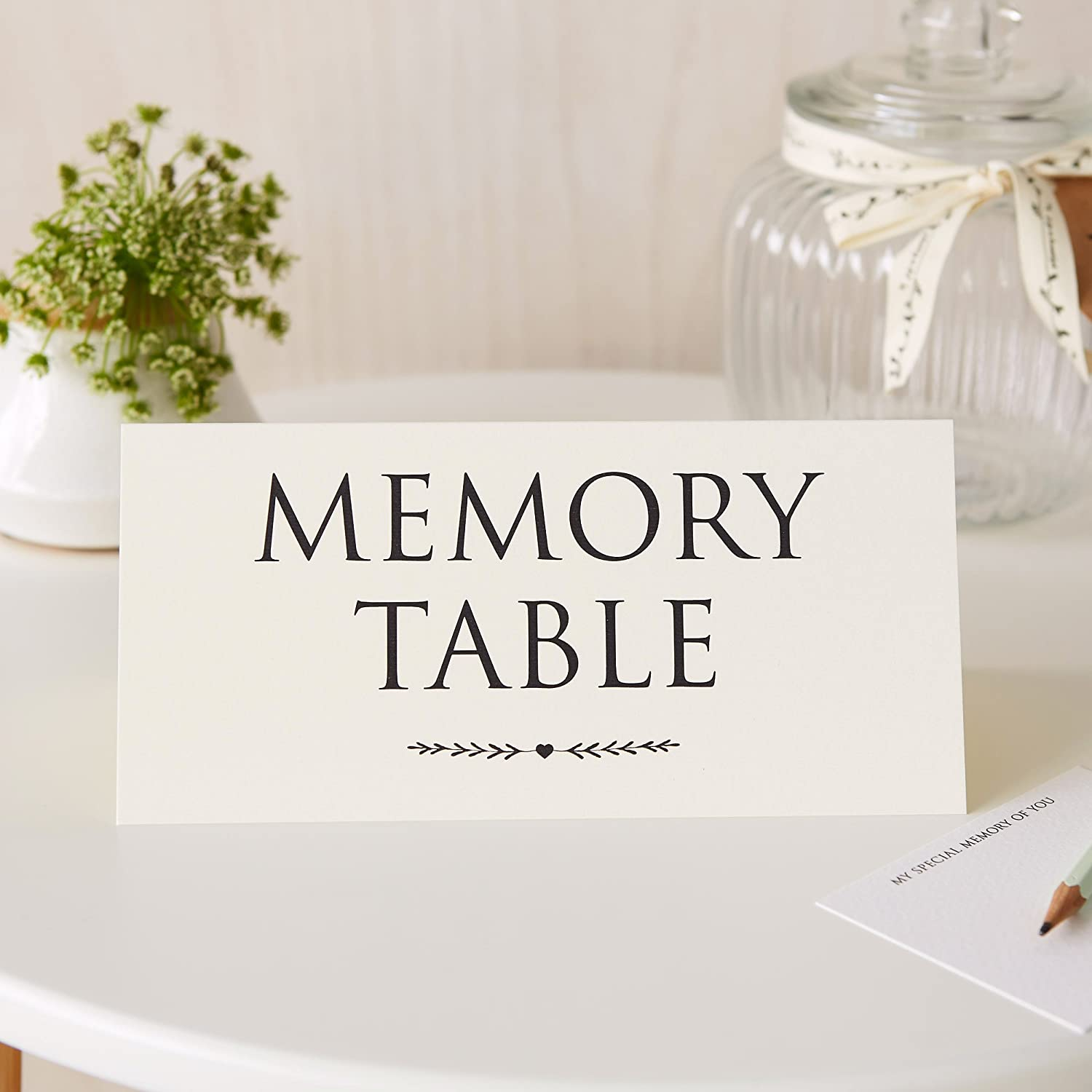 Angel & Dove 'Memory Table' Ivory Card Tent Sign for Funeral Condolence Book