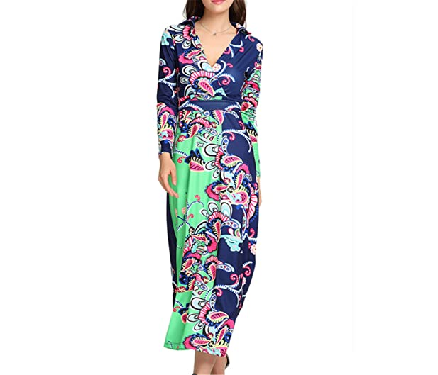 Eloise Isabel Fashion Mulheres de longo maxi dress vintage africano retro impressão de cintura alta vestidos