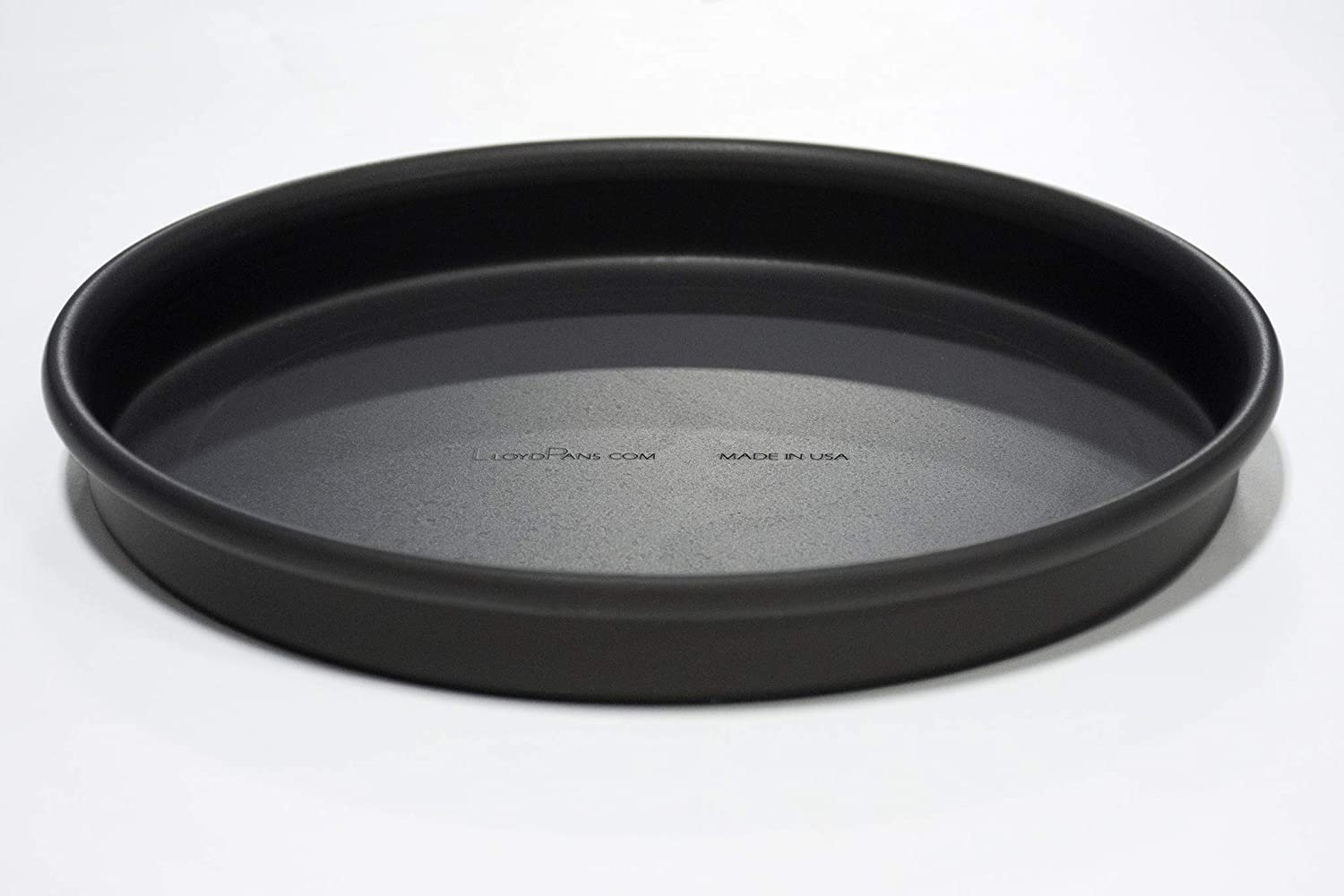 Rolled Rim for Strength Straight Sided Pizza Pan Pre-Seasoned PSTK inches Dark Gray LloydPans 10x1