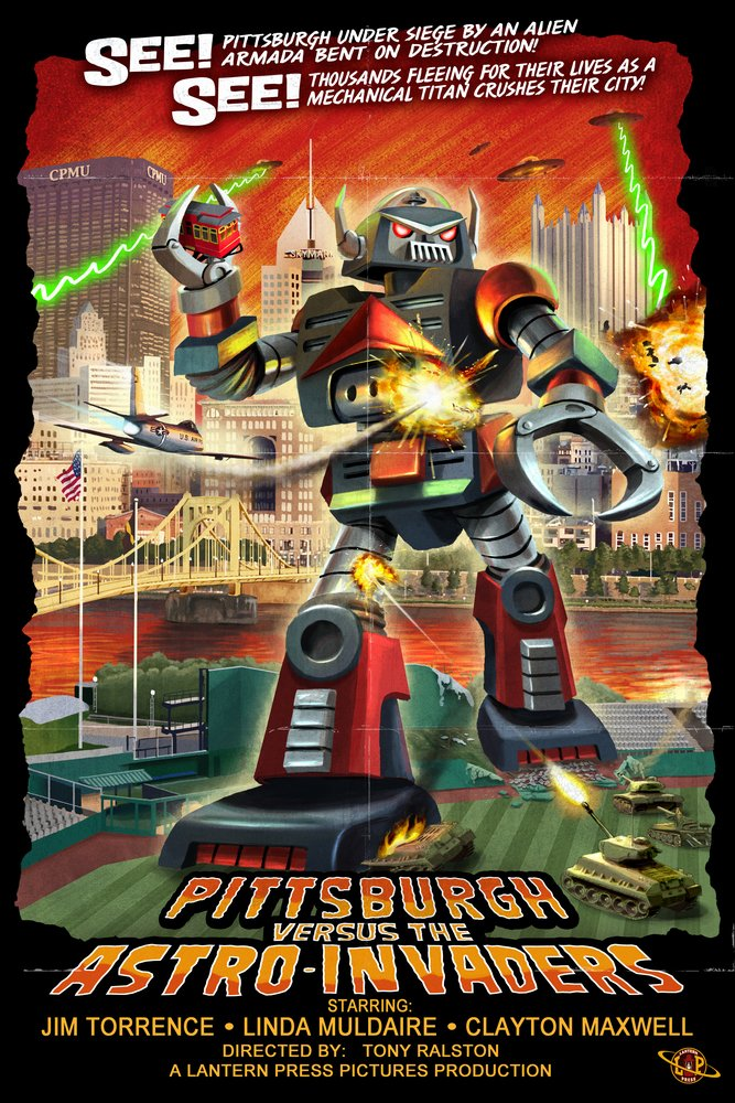 Amazon.com - Pittsburgh, Pennsylvania Vs. The Astro Invaders (9x12 Art Print, Wall Decor Travel Poster) -