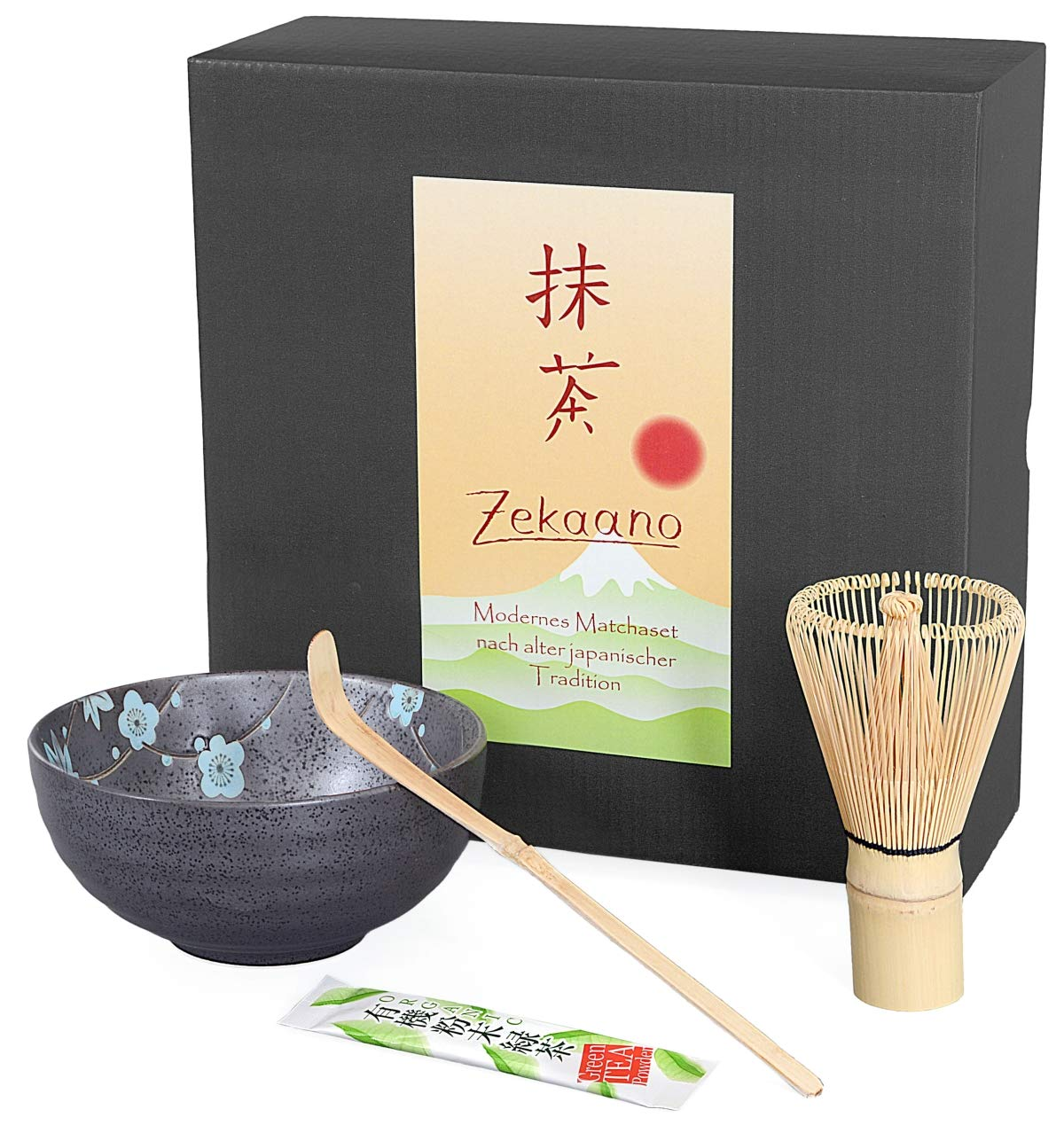 Aricola® Bamboo Spoon Matcha 3 piece set, 300 ml anthracite, blue, dappled, Matcha bowl, Matcha bamboo brush in gift box