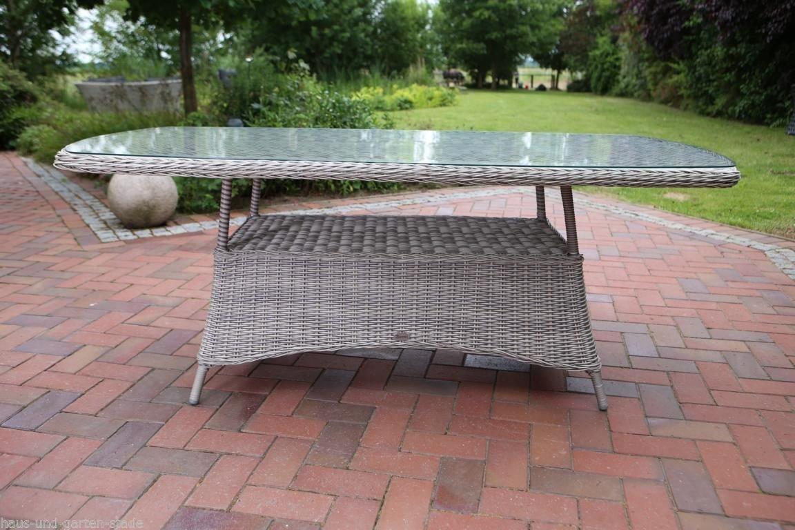 Destiny Gartentisch Luna 180x100 Oval Tisch Polyrattan Geflechttisch
