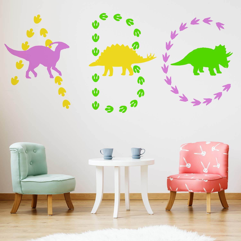 117 Pieces Dinosaur Wall Decal Dinosaur Footprints&Tracks Stickers Removable Baby Nursery Decals Vinyl für Boys&Girls Kids Bedroom Nursery Decor