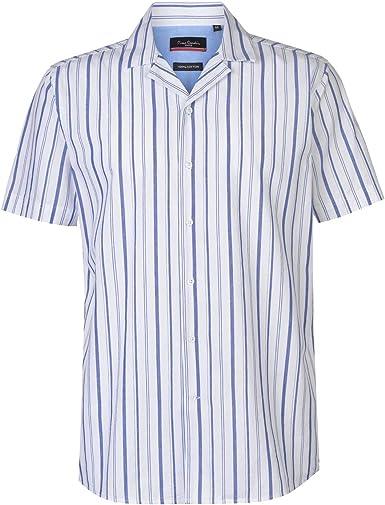 Pierre Cardin Hombre Camisa Casual De Algodón De Rayas: Amazon.es: Ropa y accesorios