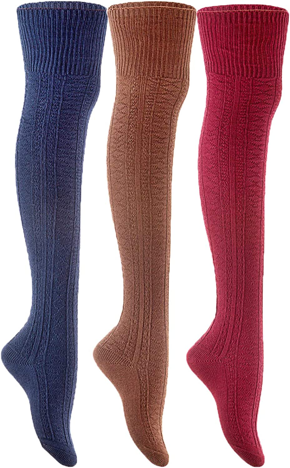 Lian LifeStyle Fashionable and Adorable Women's 3 Pairs Thigh High Cotton Socks For Everyday Relaxed Feet Size 6-9 LLS1025(Navy,Coffee,Wine)