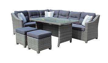 Rattan lounge grau  Rattan Lounge-Set in Grau mit Polyrattan Sitzecke, Gartenmöbel inkl ...
