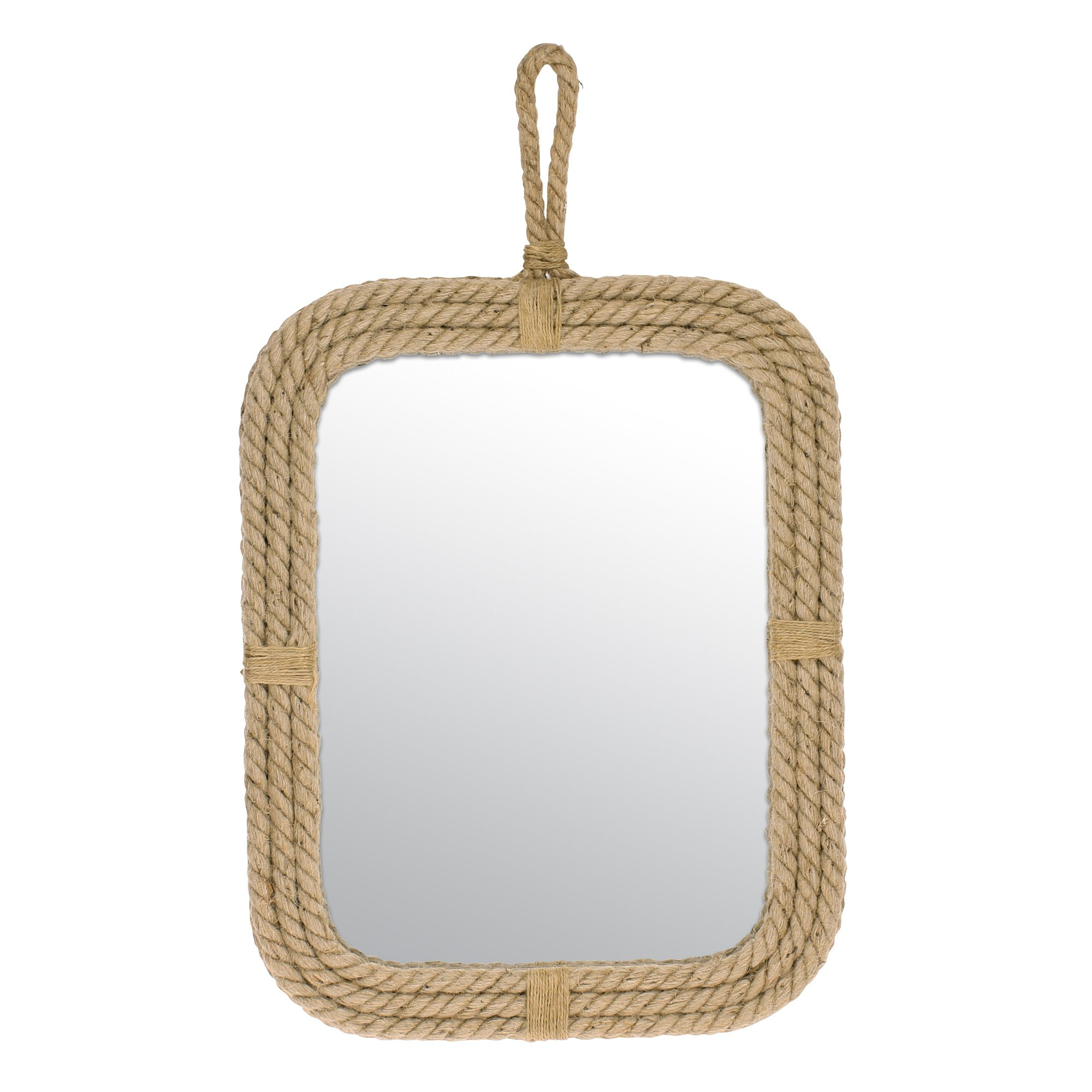 Stonebriar Vertical Rectangle Rope Mirror for Wall, Unique Country Décor