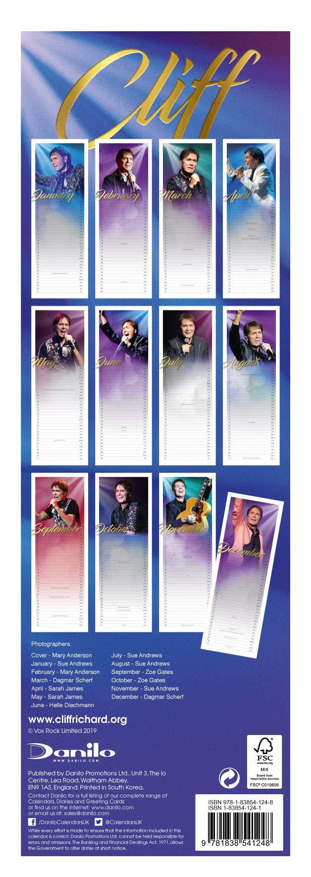Cliff Richard Slim 2020 Calendar - Official Slim Format ...