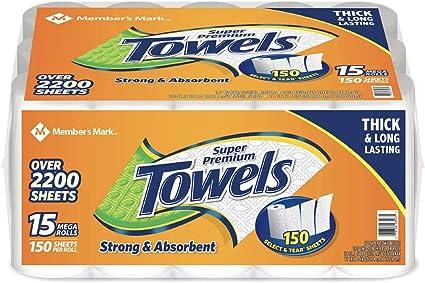 Member S Mark Super Premium Toallas De Papel 15 Rollos 150 Hojas Por Rollo Industrial Scientific