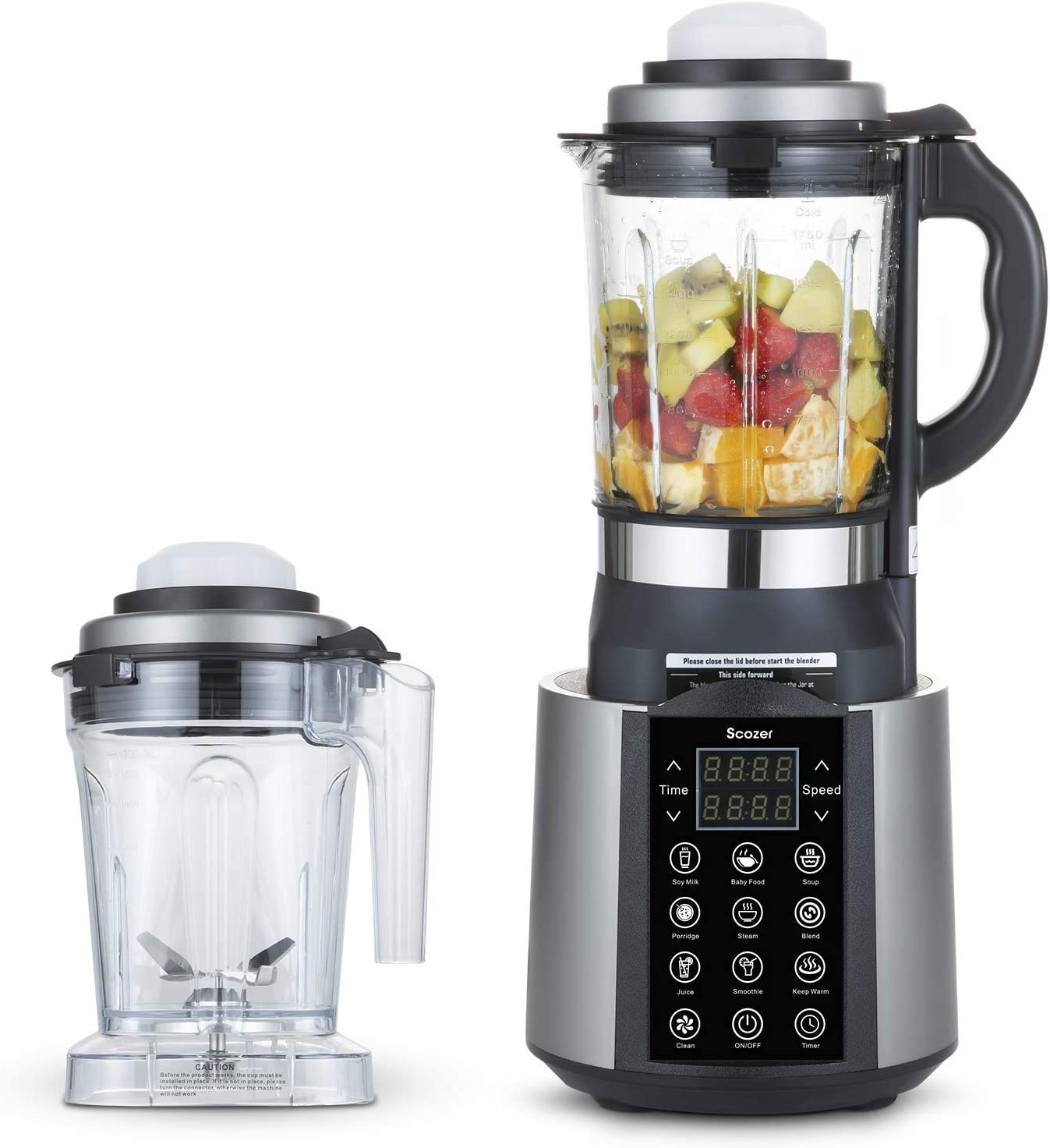 Cooking Blender, Scozer Hot and Cold Countertop Blender, Professional High-Speed Blender with 9 Pre-Programmed Settings, 800W Countertop Blender for Smoothies, Soup, Grind, Shakes