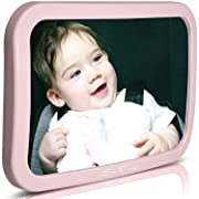 Baby Backseat Mirror for Car - Pink | View Infant in Rear Facing Car Seat - 100% Lifetime Satisfaction Guarantee - Best Newborn Safety with Secure Headrest Double-Strap (Pink)