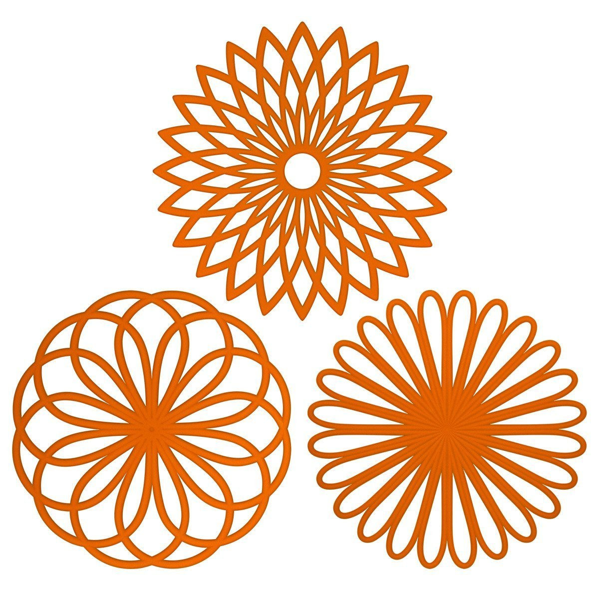 ME.FAN 3 Set Silicone Multi-Use Flower Trivet Mat - Premium Quality Insulated Flexible Durable Non Slip Coasters Hot PadsOrange