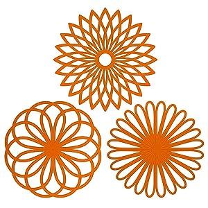 ME.FAN 3 Set Silicone Multi-Use Flower Trivet Mat - Premium Quality Insulated Flexible Durable Non Slip Coasters Hot PadsOrange