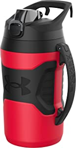 Under Armour Playmaker 64oz Water Bottle Jug, Fence Hook Handle, Protective Lid w/ Lock Button, Outer Body Grip, For Kids & Adults, All Sports, Baseball, Basketball, Football, Gym