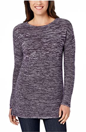 size 40 313bb 75f00 Ellen Tracy Womens Marled Knit Boat Neck Pullover LS Sweater ...