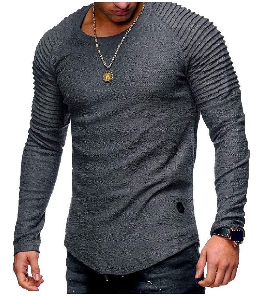 Sayah Mens Pure Color Long-Sleeve Comfy Ruched Raglan Pullover Tees Top