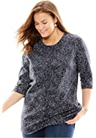 Women's Plus Size Perfect Print Knit Tunic Shirt In Pure Cotton With Scoop Neck,